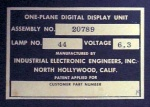 The label on the projection display. The lamps seem to be intentionally run at a low voltage to make them last longer. With up to 12 bulbs installed on each display digit, this is kinda important. I have yet to figure out what the other two do...